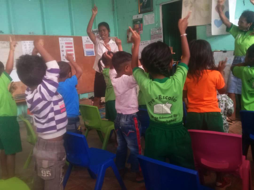 Teacher Delfina with Students